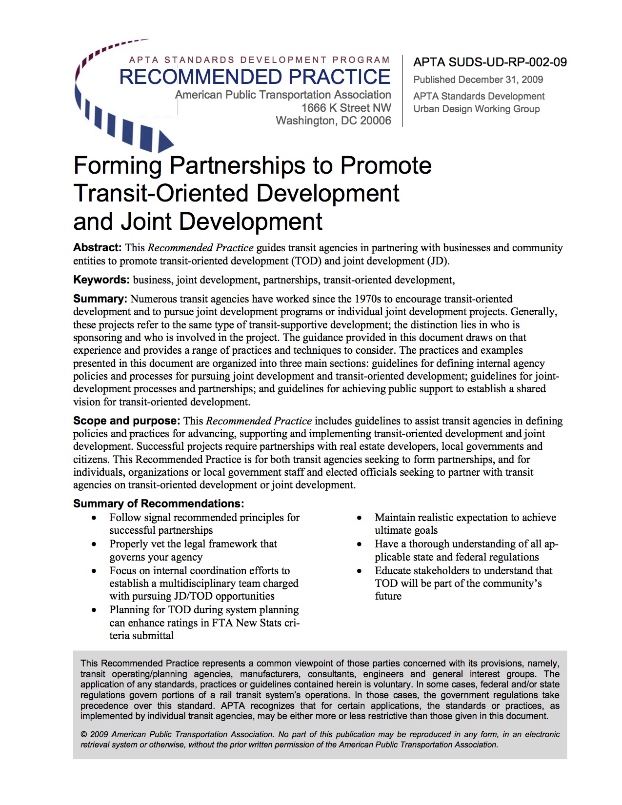 Forming Partnerships to Promote Transit-Oriented Development and Joint Development