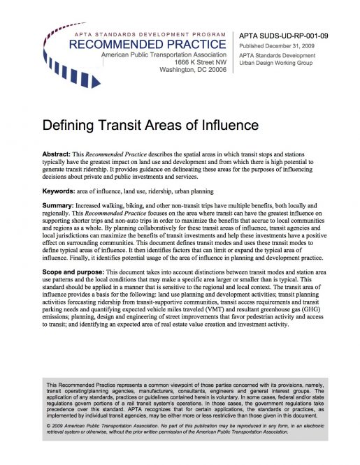 Defining Transit Areas of Influence