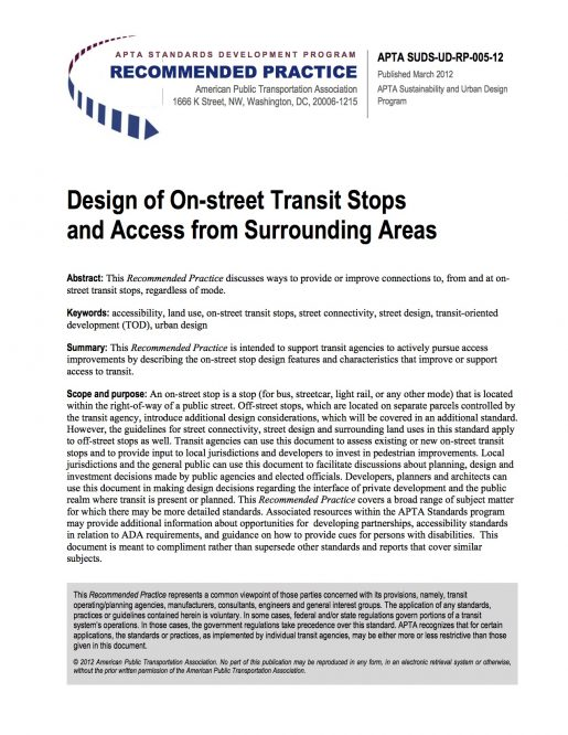 Design of On-street Transit Stops and Access from Surrounding Areas