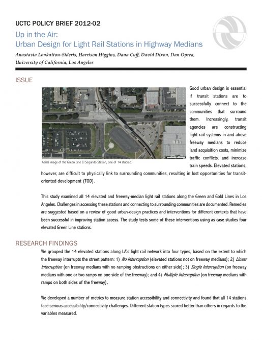 Up in the Air: Urban Design for Light Rail Stations in ...
